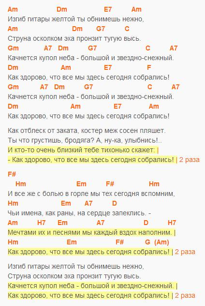 Изгиб гитары желтой - Олег Митяев, текст и аккорды