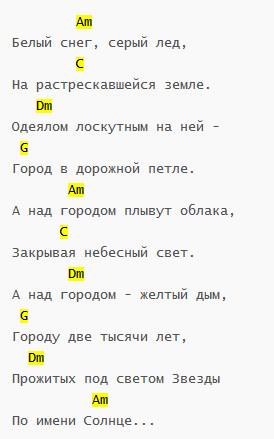 """""""Звезда по имени Солнце"""" Аккорды"""