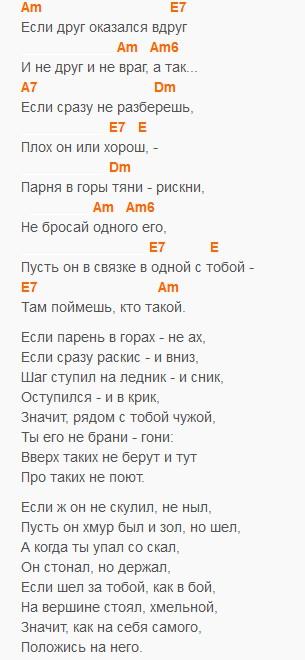 Песня о друге, Высоцкий, текст и аккорды