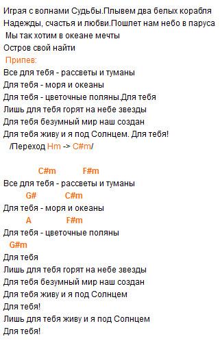 """""""Все для тебя"""" (Стас Михайлов), аккорды!"""