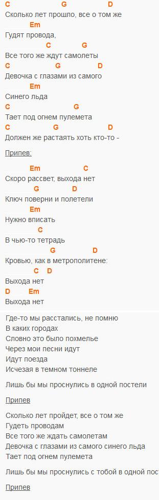 Выхода нет - Сплин - текст и аккорды