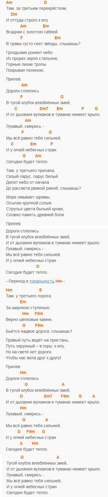 Дороги - Мельница, текст и аккорды