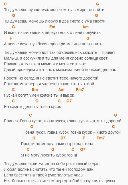 Обращение к мужчине, Слепаков, текст и аккорды в тональности С