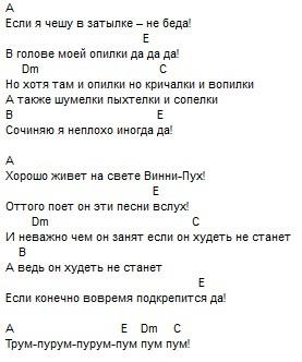 Песенка Винни-пуха, текст и аккорды