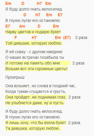 Букет - Барыкин - текст и аккорды в Em