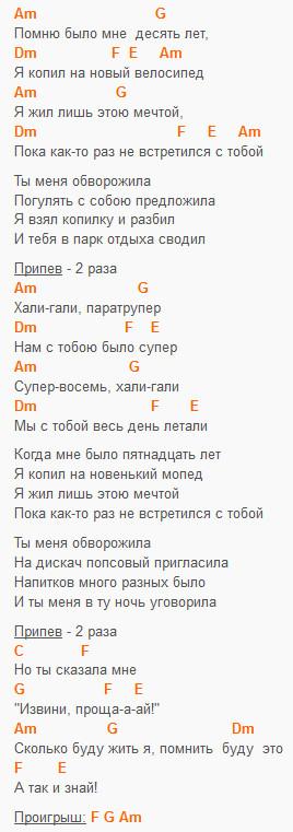 Хали-гали - Леприконсы - текст и аккорды в Am