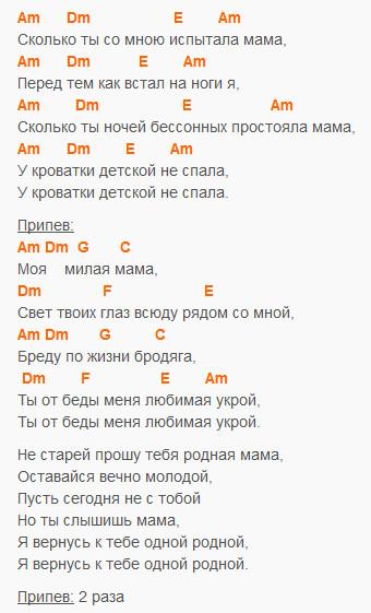 Мама - Стас Михайлов - текст и аккорды в Am