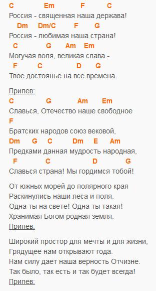 Гимн России на гитаре - текст и аккорды