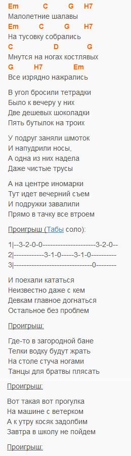 Шалавы - Алексин - текст и аккорды
