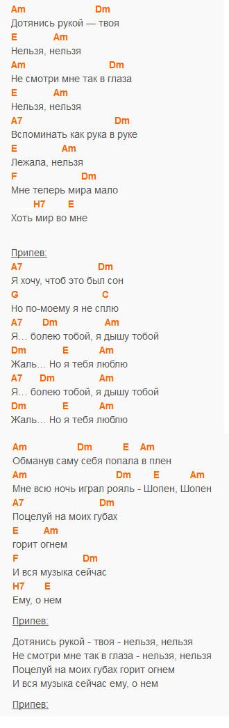 Шопен - Ваенга - аккорды в Am