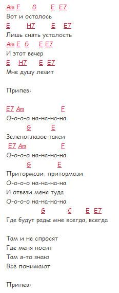 Зеленоглазое такси - Боярский - Текст и аккорды в Am