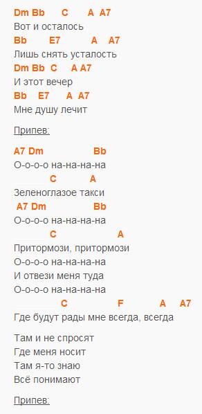 Зеленоглазое такси - Боярский - Текст и аккорды в Dm