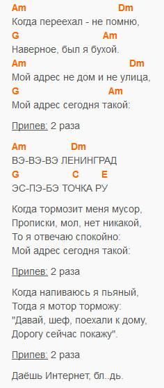 www - ВВВ - Ленингрд - текст и аккорды в Am