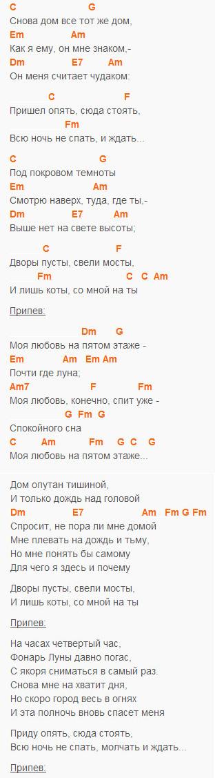 Моя любовь на пятом этаже - СЕКРЕТ - Текст и аккорды