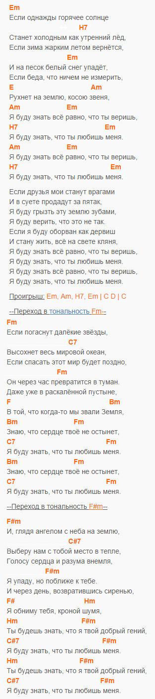 Вечная любовь - Майданов - Аккорды и текст