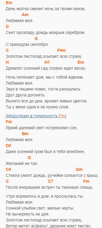 Любимоя моя - В. Быков - Аккорды и текст в Em