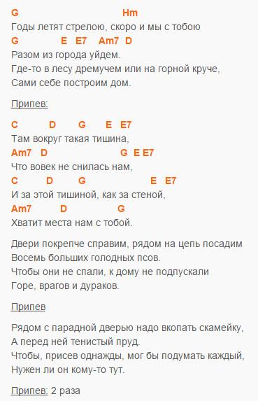Наш дом - Машина Времени - Аккорды и текст