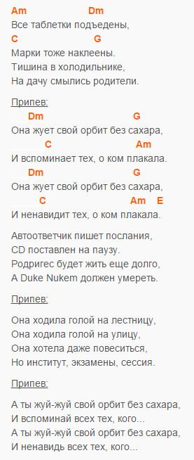 Орбит без сахара - Сплин - Аккорды в Am и текст