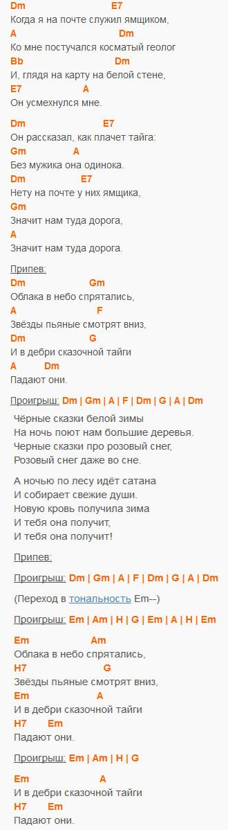 Сказочная тайга - Агата Кристи - Аккорды и текст