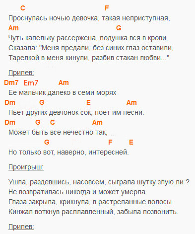 Девочка - Мумий Тролль - Аккорды и текст