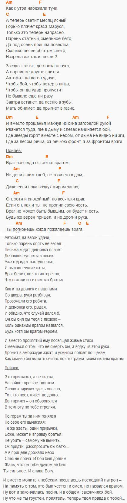 Враг - Кошка Сашка - Аккорды и текст