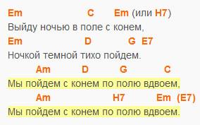 Конь - Любэ - Аккорды в Em и текст