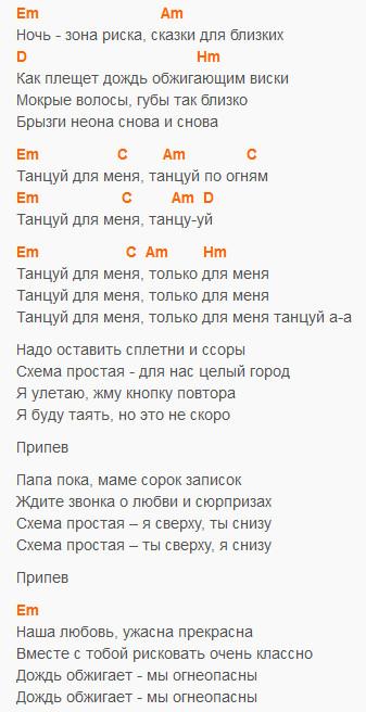 Танцуй - Звери - Текст и аккорды в Em