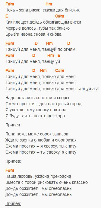 Танцуй - Звери - Текст и аккорды в F#m