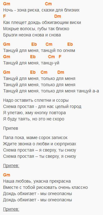 Танцуй - Звери - Текст и аккорды