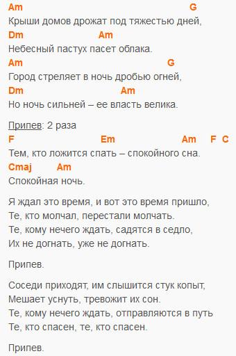 Спокойная ночь - Кино - Аккорды и текст