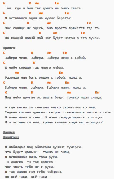 Мама - Бурито - Аккорды в G и текст