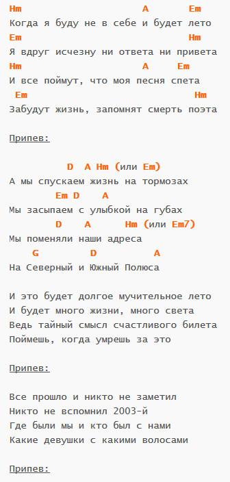 Полюса - Смысловые Галлюцинации - Аккорды и текст