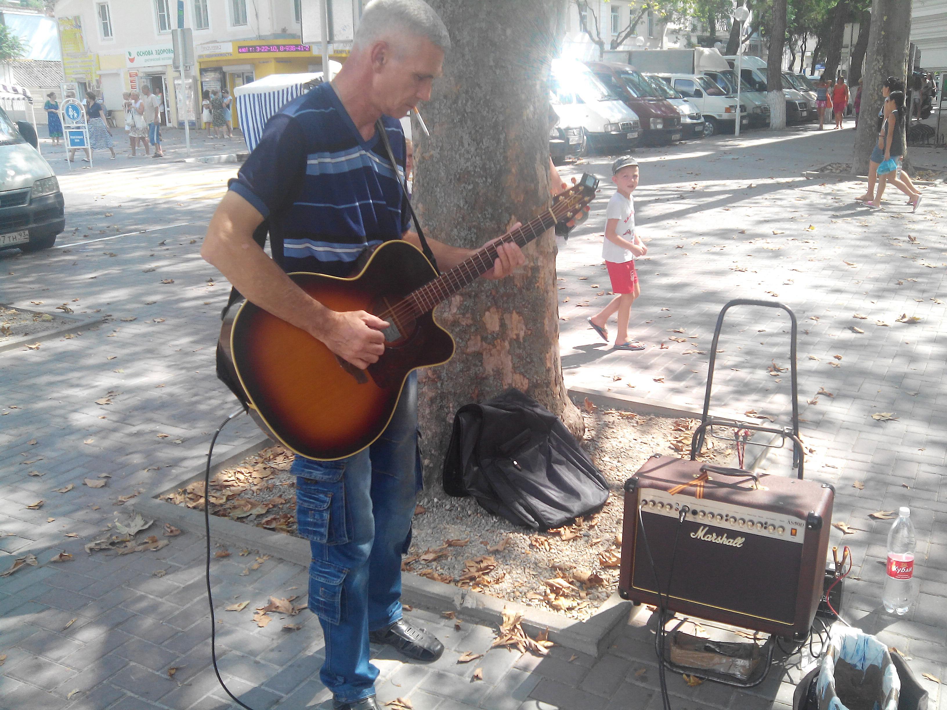 уличный гитарист - фото