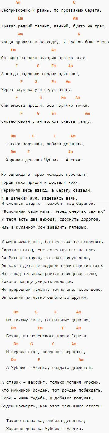 Аккорды и текст песни Волчонок