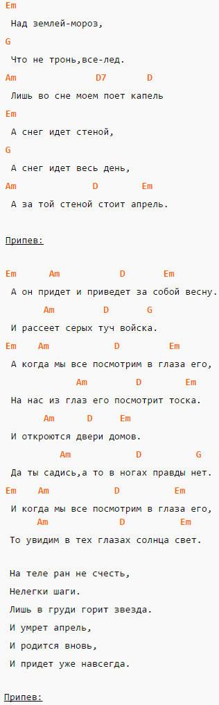 Апрель - Кино - Аккорды и текст