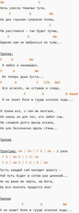 Осколок льда - Ария - Аккорды и текст