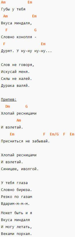 Ресницы -Братья Гримм - Аккорды в Am и текст