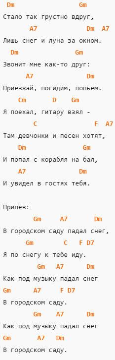 Падал снег - Круг - Аккорды и текст в Dm
