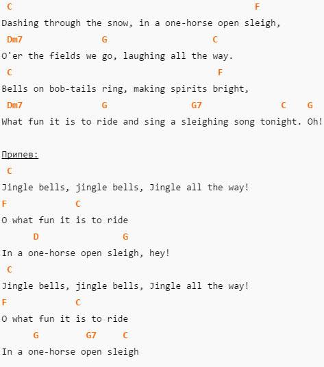 Jingle Bells - Текст и аккорды в C (До-мажор)