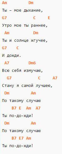Ты мое дыхание - Аккорды и текст