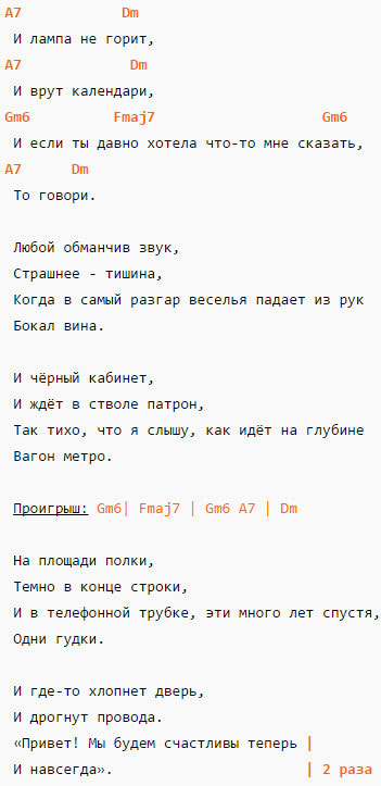 Романс - Сплин - Аккорды и слова
