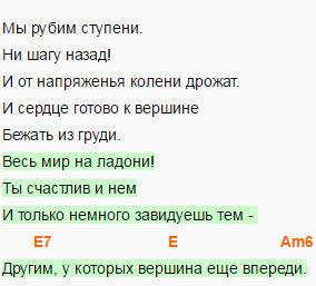 Высоцкий - Вершина - Аккорды и слова песни 3