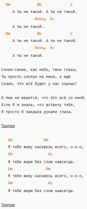 Ты не такой - Ю. Караулова - Аккорды и слова 2