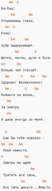 Мумий Тролль - Невеста - Аккорды (вариант 2)
