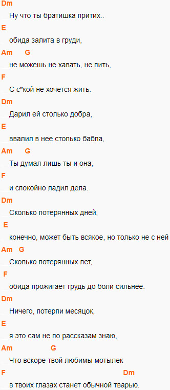Макс Корж - Мотылек, аккорды на гитаре, слова