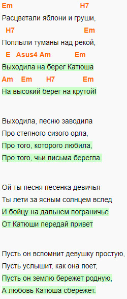 Катюша, аккорды на гитаре, слова песни