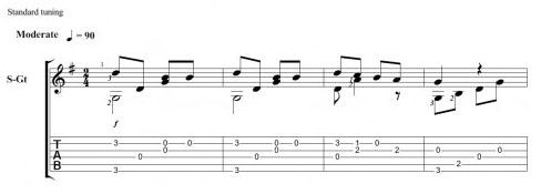 Мелодия на гитаре - Маленькой елочке холодно зимой. Ноты, табы
