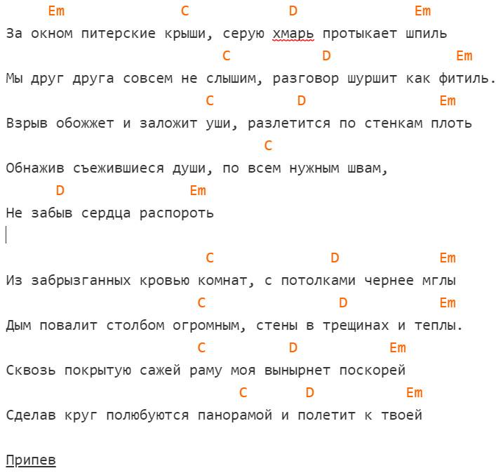 Noize MC - Питерские крыши. Аккорды, слова, на гитаре